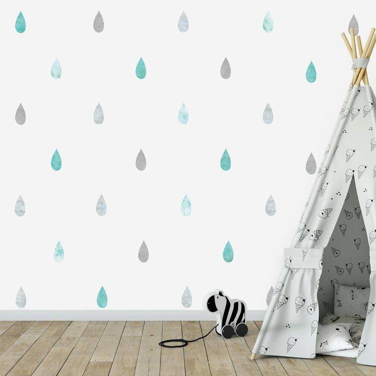Daring Walls Muursticker Watercolor Confetti Drops mint