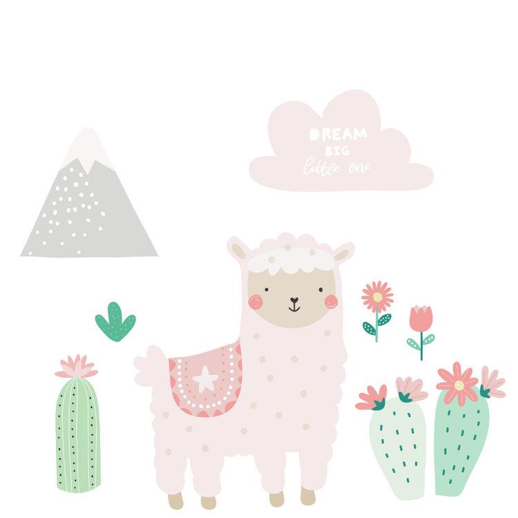 Daring Walls Muursticker Lama pink