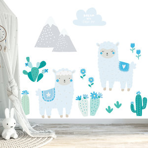 Daring Walls Muursticker Lama's set blue
