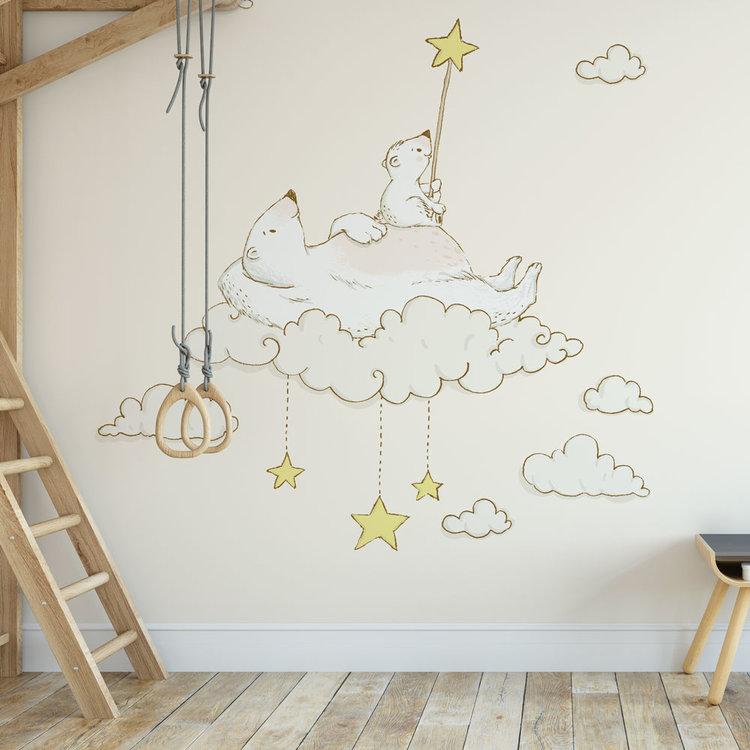 Daring Walls Zelfklevend kinderbehang IJsberen op maan- creme
