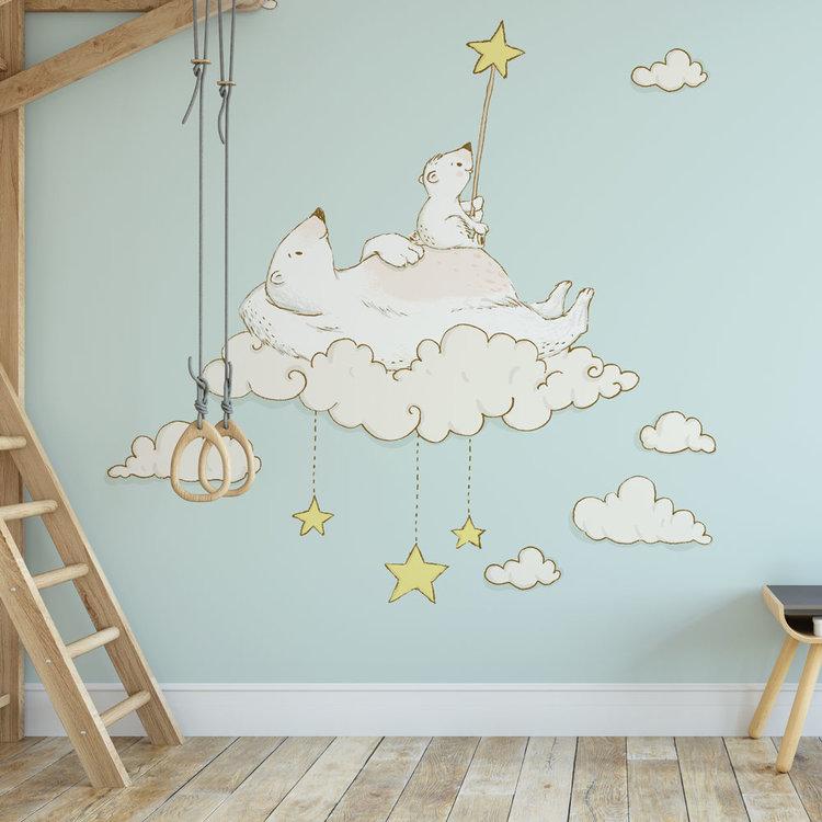 Daring Walls Kinderbehang IJsberen op maan- blauw