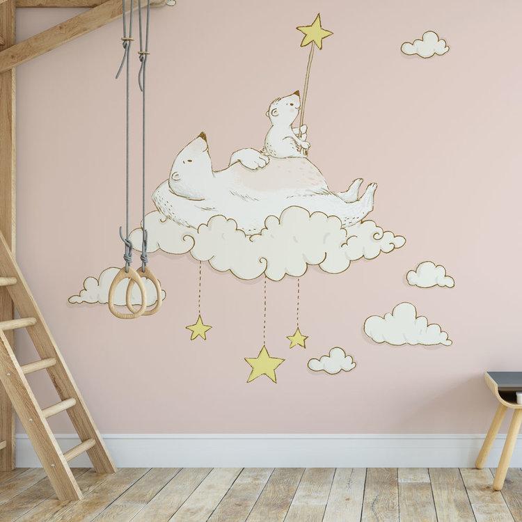 Daring Walls Kinderbehang IJsberen op maan- roze