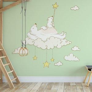 Daring Walls Kinderbehang IJsberen op maan- groen