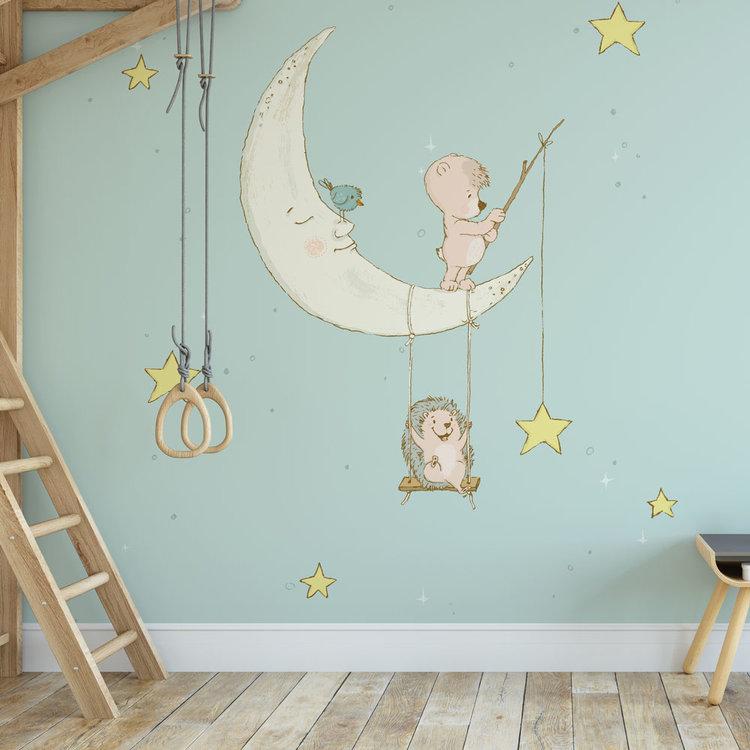 Daring Walls Kinderbehang Egeltje aan maan- blauw