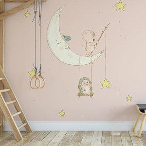 Daring Walls Children's Wallpaper Hedgehog on moon pink