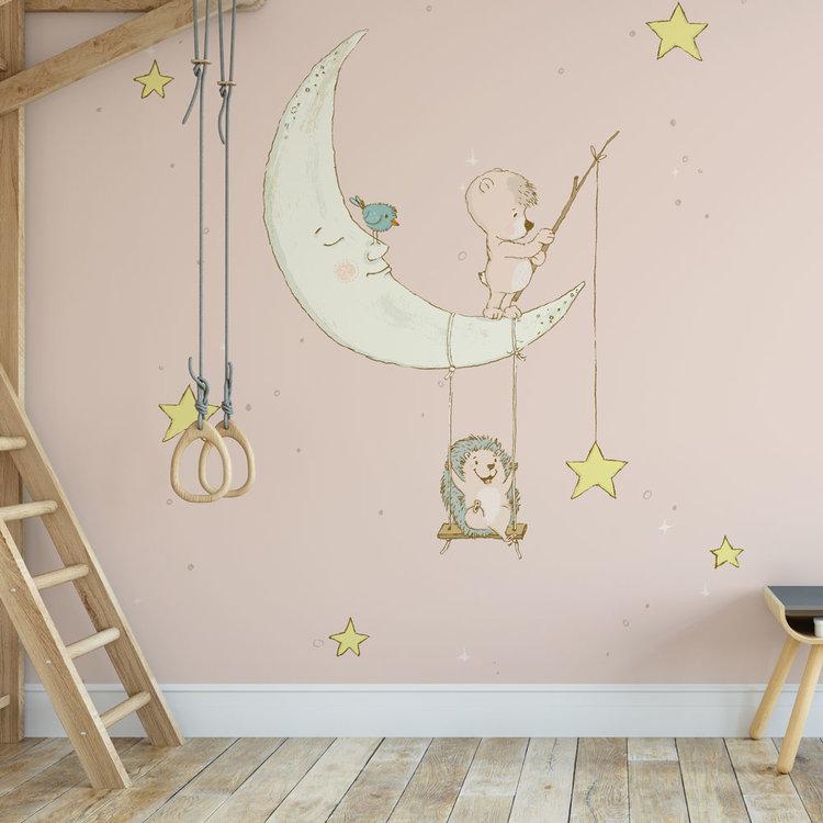 Daring Walls Kinderbehang Egeltje aan maan- roze