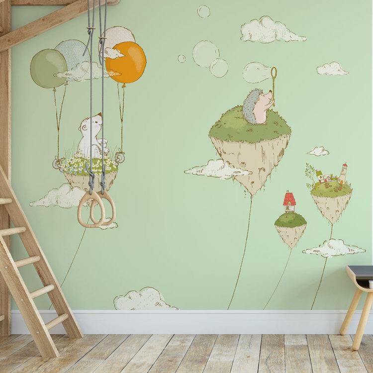 Daring Walls Kinderbehang Eilandjes met dieren- groen