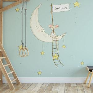 Daring Walls Kinderbehang Muisje op maan - blauw