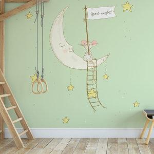 Daring Walls Kinderbehang Muisje op maan - groen