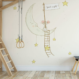 Daring Walls Kinderbehang Muisje op maan - creme