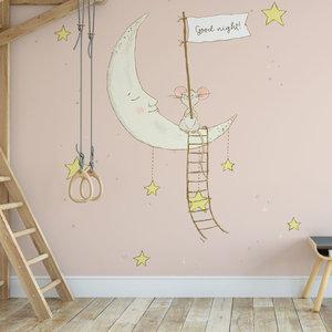 Daring Walls Kinderbehang Muisje op maan - roze