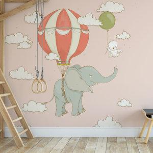 Daring Walls Kinderbehang Olifantje aan ballon - roze