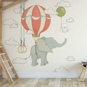 Daring Walls Kinderbehang Olifantje aan ballon - creme