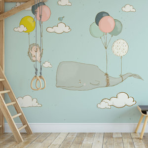 Daring Walls Children's Wallpaper whale and hedgehog with balloons - blue