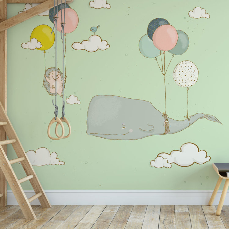 Daring Walls Children's Wallpaper whale and hedgehog with balloons - green
