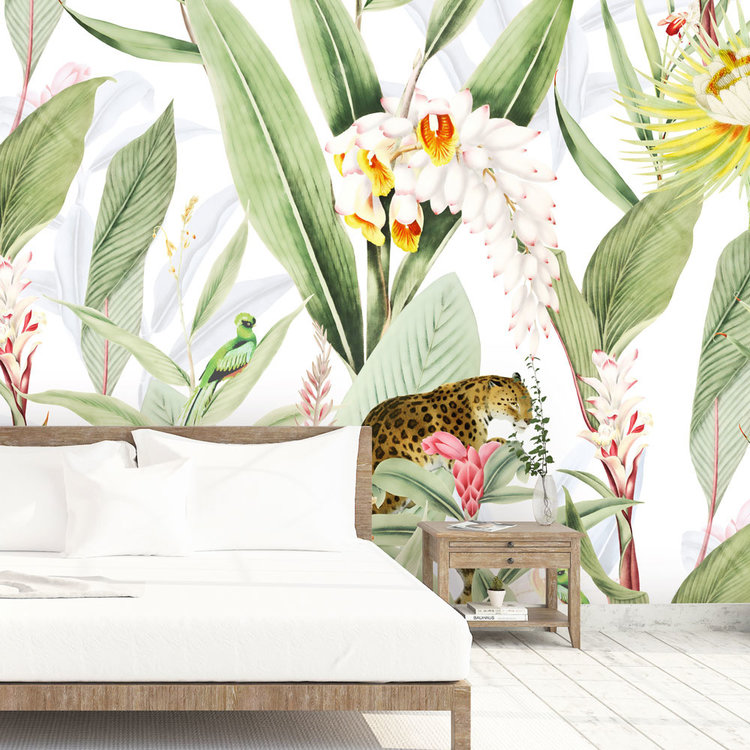 Daring Walls Behang Tropical Chic white