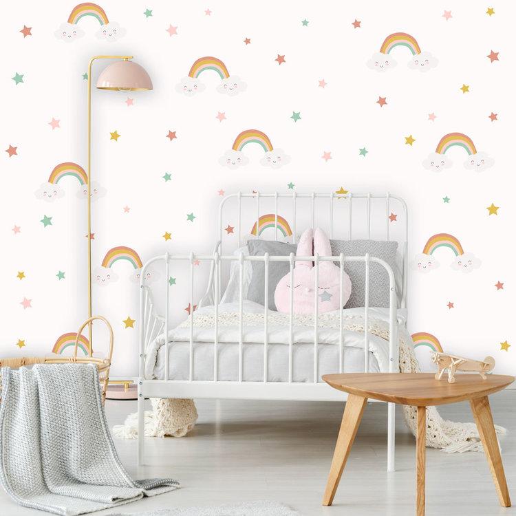 Daring Walls Muursticker Rainbows & Stars - Pink