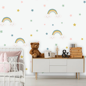Daring Walls Muursticker Rainbows & Stars - Blue
