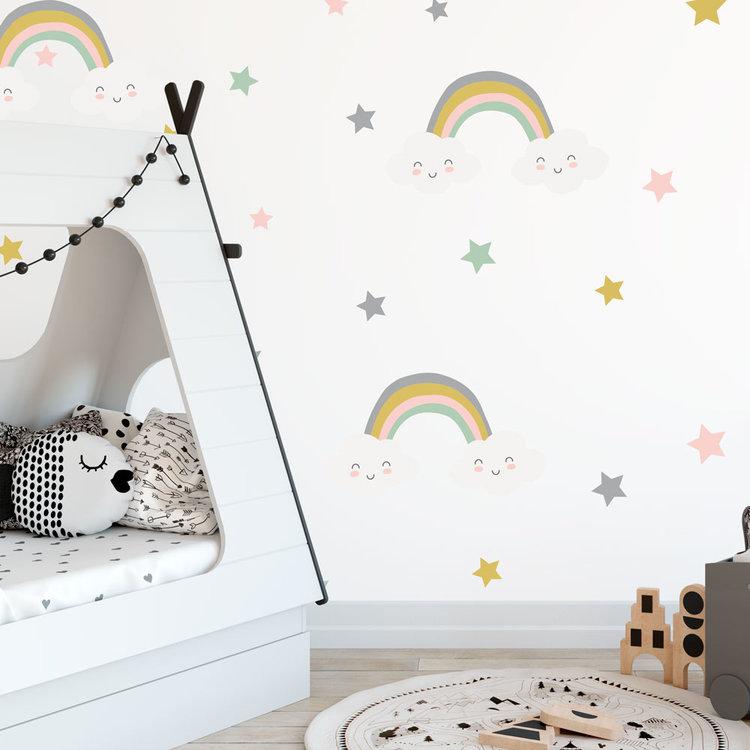 Daring Walls Muursticker Rainbows & Stars - Grey