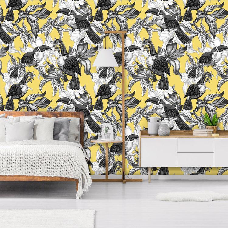 Daring Walls Behang Royal Birds yellow