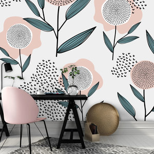 Daring Walls Behang Retro flowers - pink