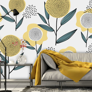 Daring Walls Behang Retro flowers - yellow