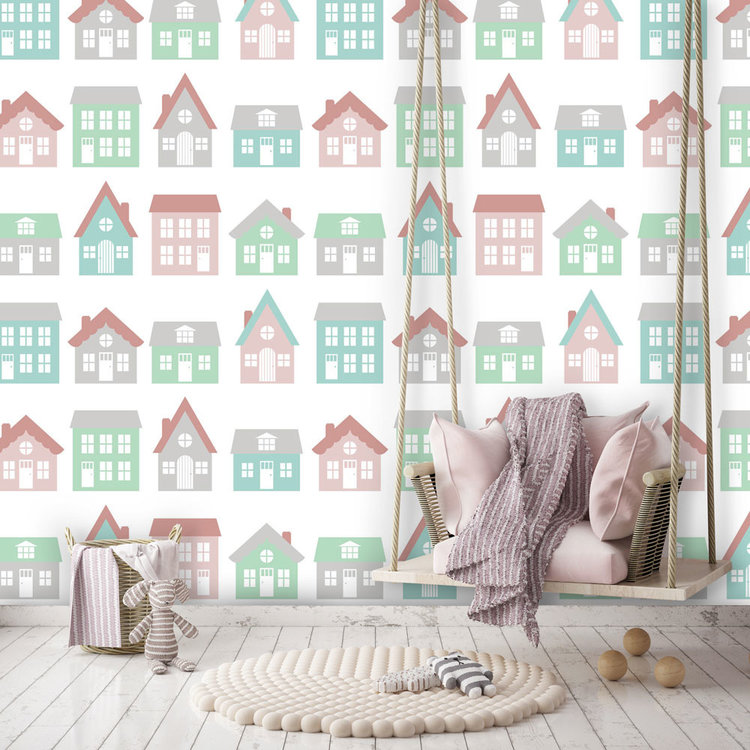 Daring Walls Behang Town houses pink