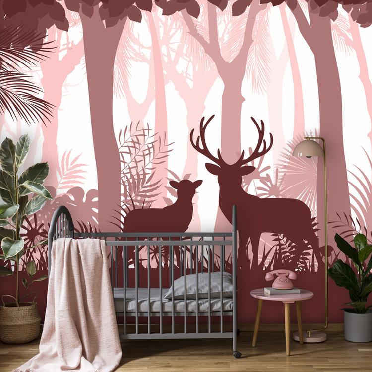 Daring Walls Behang Deer in the woods - pink