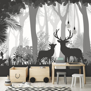 Daring Walls Behang Deer in the woods - grey