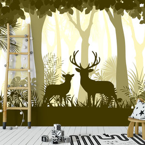 Daring Walls Behang Deer in the woods - yellow