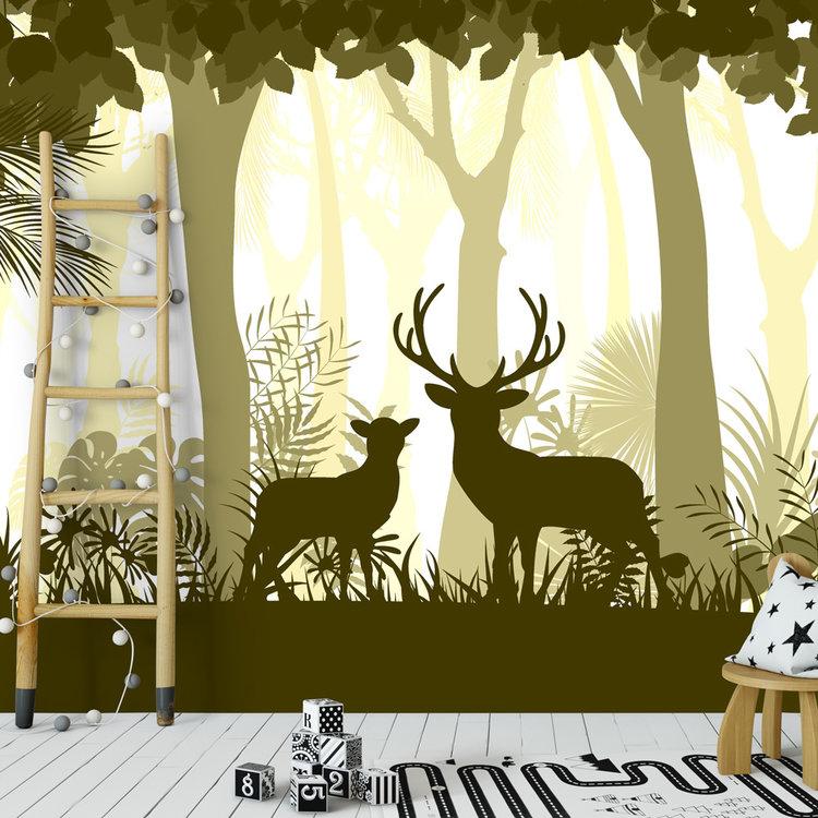 Daring Walls Behang Deer in the woods - yellow