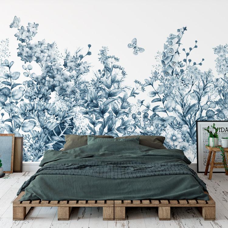 Daring Walls Behang Meadow in spring - blue