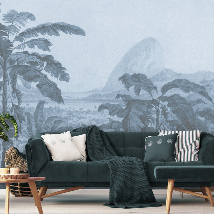 Daring Walls Behang Engraving african landscape - blue