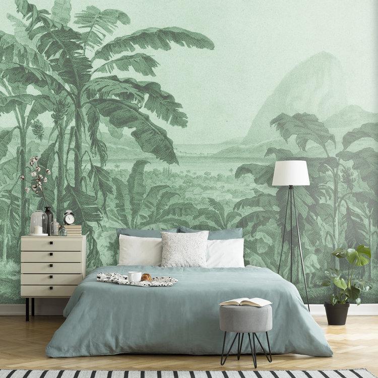 Daring Walls Behang Engraving african landscape - green