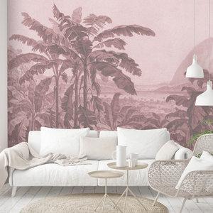 Daring Walls Behang Engraving african landscape - pink