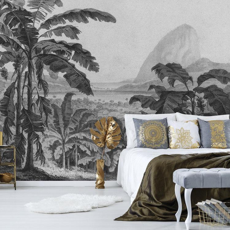 Daring Walls Behang Engraving african landscape - dark grey
