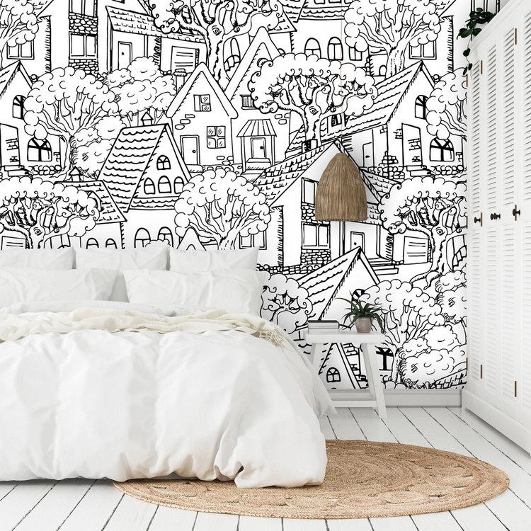 Daring Walls Wallpaper Mountain Village - black