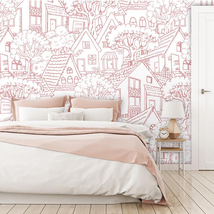 Daring Walls Behang Mountain Village - pink