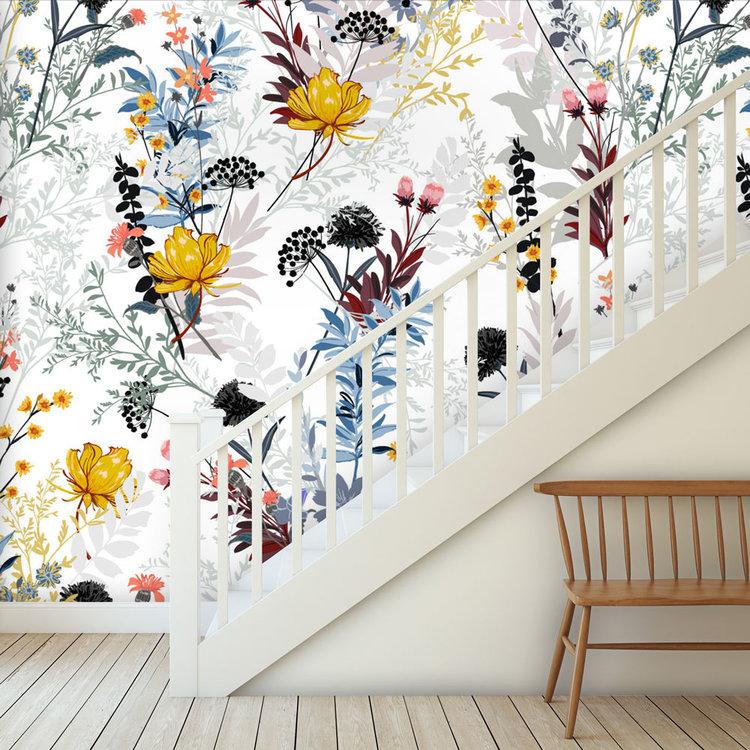Daring Walls Behang Floral mix sunny blue