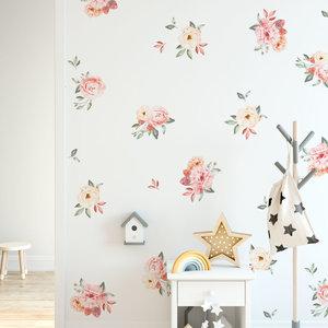 Daring Walls Muurstickers Watercolor roses in peach