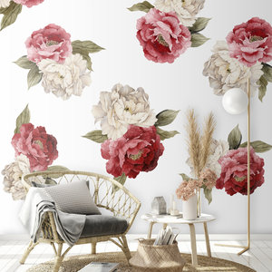 Daring Walls Muurstickers Peonies red - white