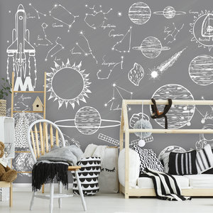 Daring Walls Behang Space Elements - grey