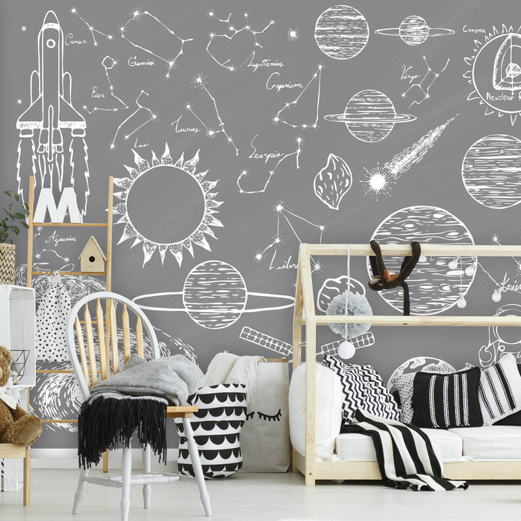 Daring Walls Behang Space Elements - grey