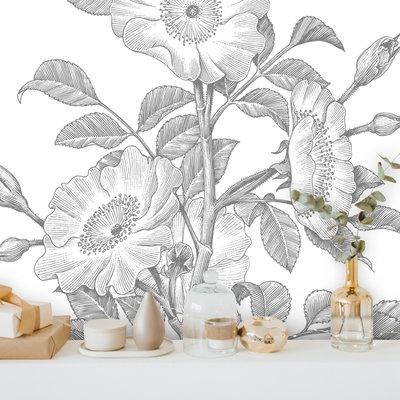 Muurstickers Floral Line Art