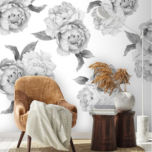 Daring Walls Muurstickers Peonies in grey