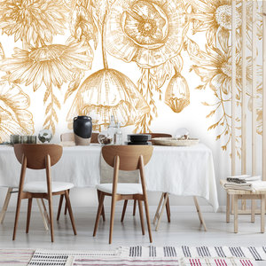 Daring Walls Behang Poppy Flowers - gold