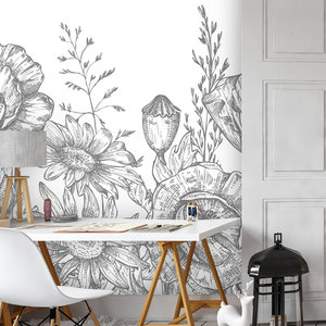 Daring Walls Behang Poppy Flowers - grey