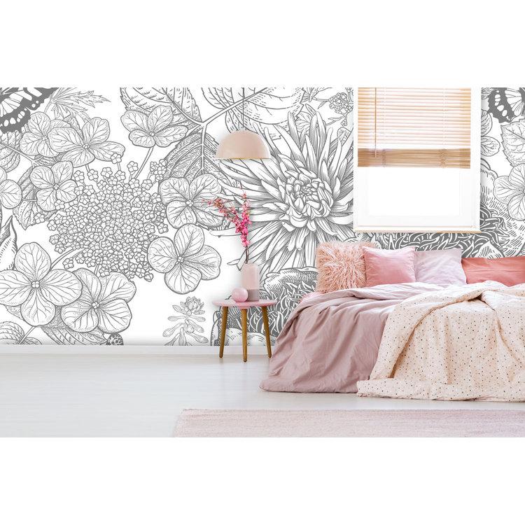 Daring Walls Behang Engraved Floral background -1