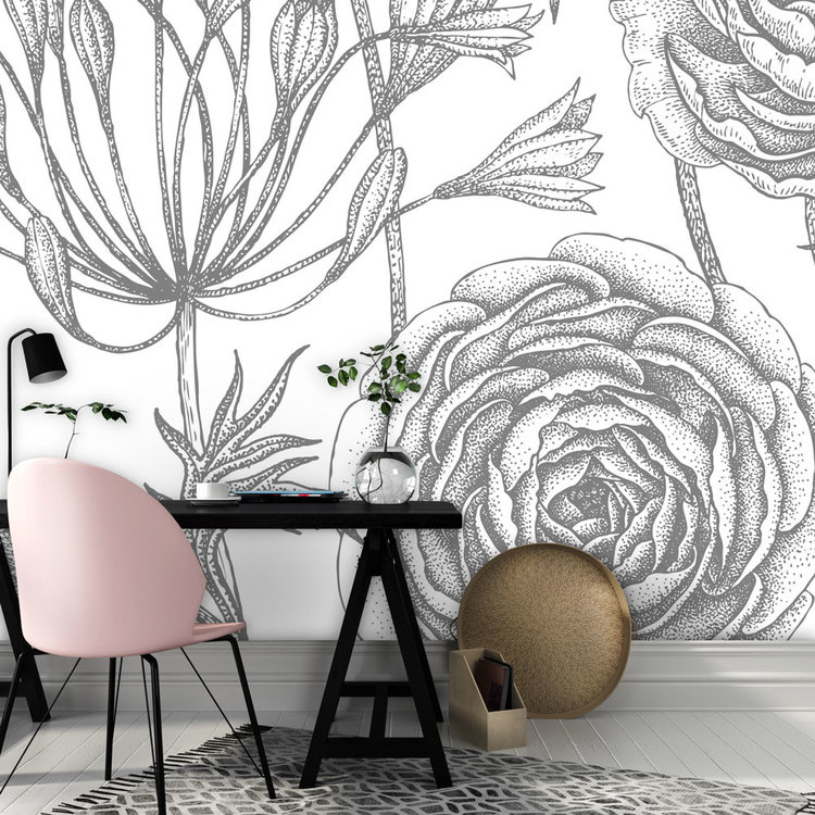 Daring Walls Behang Engraved Floral background -2