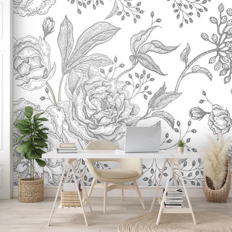 Daring Walls Behang Engraved Floral background -5